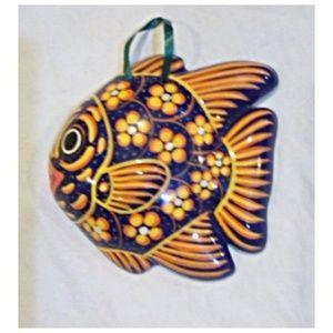 Vtg Mexican Talavera Terra Cotta Fish Wall Art
